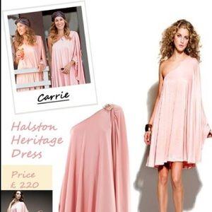 RARE Halston Peach One Shoulder Dress